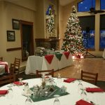 holiday party dining tables tree