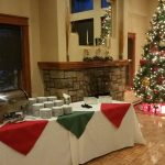 holiday buffet table with plates