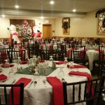holiday themed tables in dining room