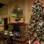 Christmas Tree and Winter Holiday Decorations in The View Restaurant at Dunham's Bay Resort, Lake George, NY