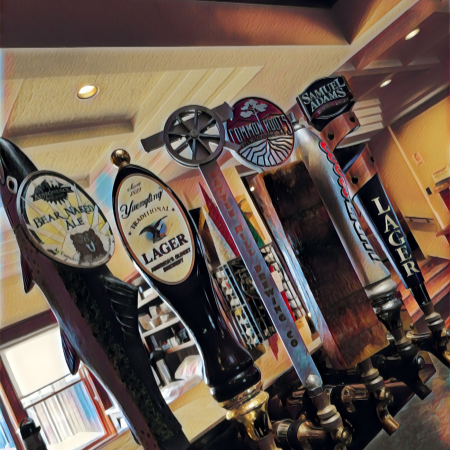 local beer draft selection in the view restaurant at Dunham's Bay Resort, Lake George, NY