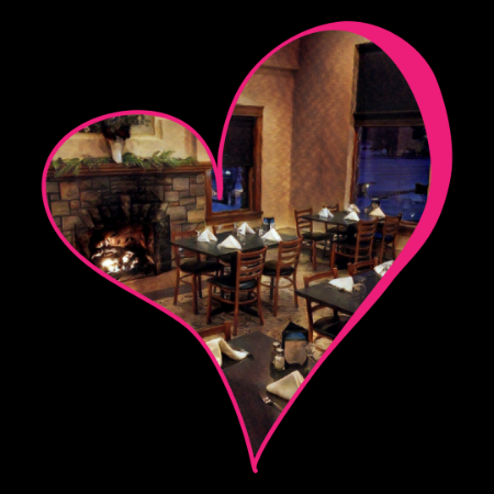 Valentine's Day Heart with picture of The View Restaurant at Dunham's Bay Resort, Lake George, NY Fireplace and main dining room