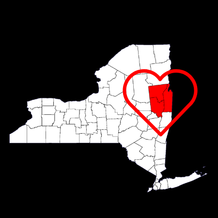 NY Map with Heart