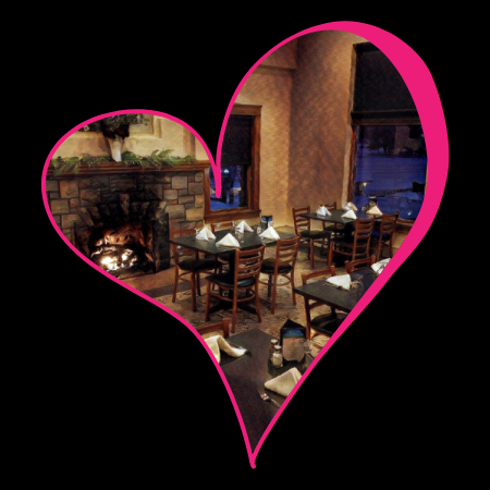 heart frame around picture of restaurant